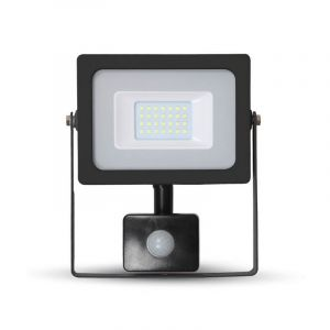 LED schijnwerper LENDO, zwart, Met bewegingsmelder - 6000K 30w