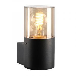 Zwarte wandlamp Sanel, Smoke glas, IP44, cilinder