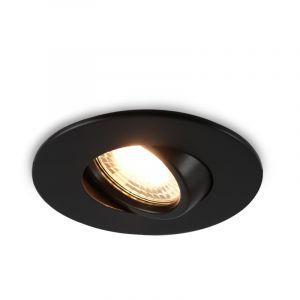 Kantelbare ronde badkamer inbouwspot Jill, zwart, IP65
