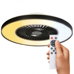 Zwarte plafondventilator met lamp Gini, inclusief afstandsbediening