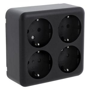 Q-Link opbouw contactdoos 4-voudig, met randaarde, zwart
