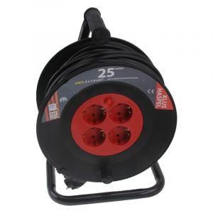 Q-Link kabelhaspel 25 m zwart/rood met randaarde