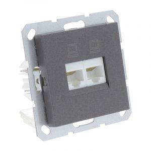 Q-Link S-Line Contactdoos Inbouw Telefoon/Data 2X8-Polig, Zwart/antraciet
