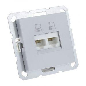 Q-Link S-Line Contactdoos Inbouw Telefoon/Data 2X8-Polig, Grijs/aluminium kleurig