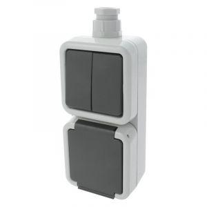 Peha Spatwaterdichte stopcontact en serieschakelaar in 1, randaarde, Wartel M20