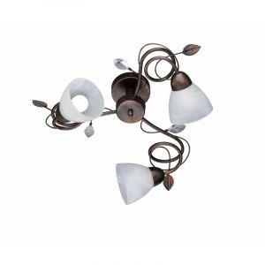 Roestkleurige plafondlamp Astrid, Metaal,Glas