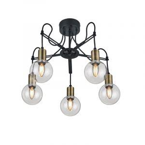 Mat Zwarte plafondlamp Grenaa, Modern