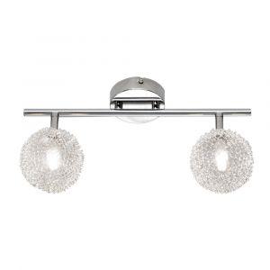 Irene plafondlamp, twee bollen, chroom