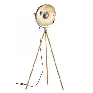 Nikkelen driepoot vloerlamp Amarey, metaal, vintage