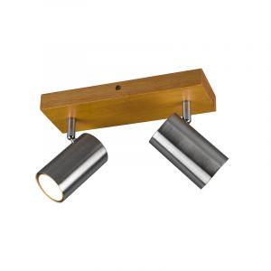 Moderne plafondspot Kaso, Nikkel en bruin, 2L