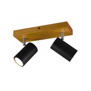 Moderne plafondspot Kaso, Zwart en bruin, 2L
