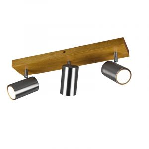 Moderne plafondspot Kaso, Nikkel en bruin, 3L