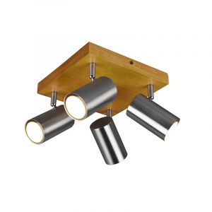 Moderne plafondspot Kaso, Nikkel en bruin, 4L