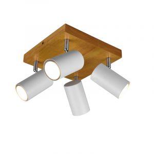 Moderne plafondspot Kaso, Wit en bruin, 4L