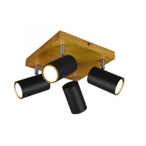 Moderne plafondspot Kaso, Zwart en bruin, 4L