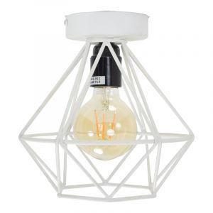 Industriële plafondlamp Merlon, wit, rond