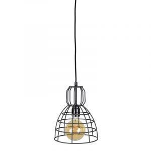 Industriële hanglamp Dexter, zwart, rond