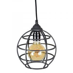 Industriële hanglamp Roland, zwart, rond