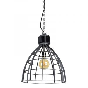 Industriële hanglamp Redstar, zwart, rond
