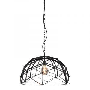 Industriële hanglamp Ladan, zwart, rond