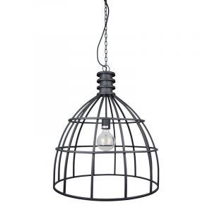 Industriële, stalen hanglamp Dendor, Vintage zwarte stalen frame