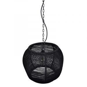 Stoere touw hanglamp Milca, Zwart touw