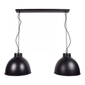 Dubbel mat zwarte hanglamp Brasd, Industrieel
