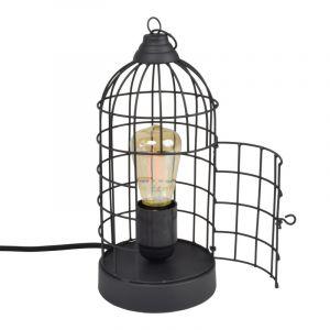 Brocante, mat zwarte tafellamp Minca, Vogelkooitje