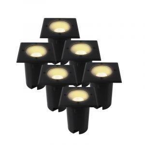 6-pak Zwarte grondspots Clenton, aluminium, IP65