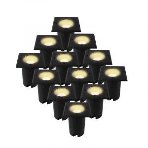 12-pak Zwarte grondspots Clenton, aluminium, IP65