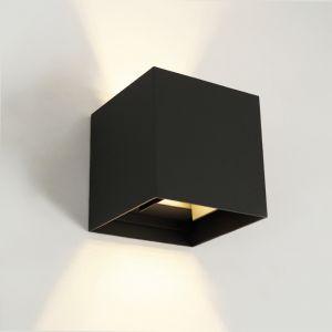 Zwarte up-down wandlamp Dion, 6w, warm wit, lichtstraal instelbaar, IP65