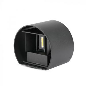 Zwarte up-down wandlamp Dion, 6w, warm wit, rond, IP65