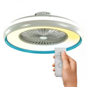 Witte moderne plafondventilator met lamp, Mazlum, kunststof, met verstelbare lichtkleur.
