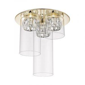 Design plafonniere Maxwell, goud, glas, geïntegreerde LED