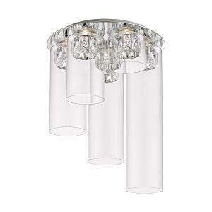Design plafonniere Maxwell, chroom, glas, geïntegreerde LED