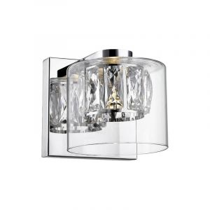 Design wandlamp Maxwell, chroom, glas, geïntegreerde LED
