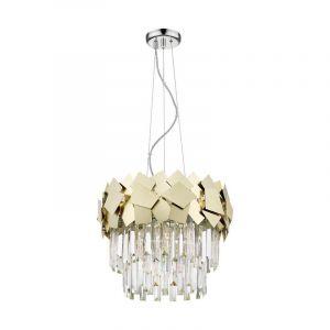 Design Kroonluchter Cyrille, goud, glas