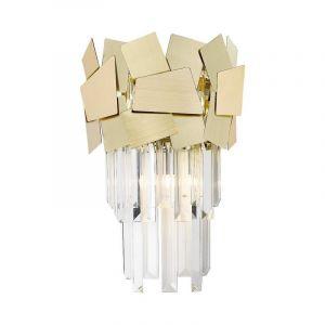 Design wandlamp Cyrille, goud, glas