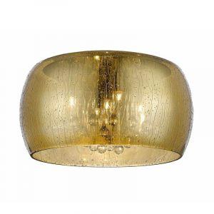 Design plafonniere Mayla, goud, glas