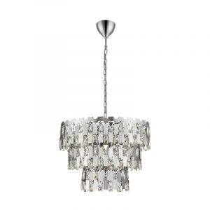 Design Kroonluchter Rayvano, chroom, glas