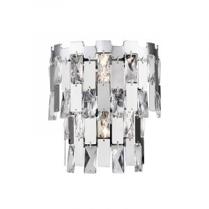 Design wandlamp Rayvano, chroom, glas