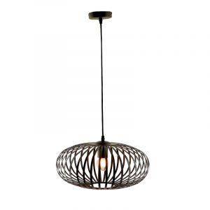Zwarte hanglamp Lieve, Rond