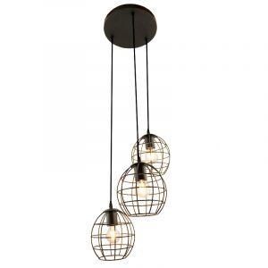 Zwarte ronde 3L hanglamp Jochem bolvormig, klein