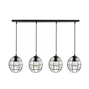 Zwarte langwerpige 4L hanglamp Jochem bolvormig, klein