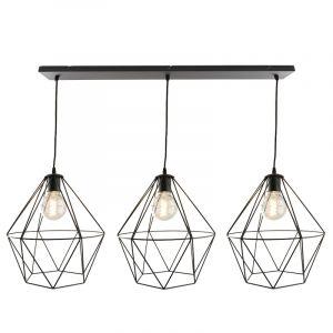 Zwarte Jochem hanglamp met 3 diamant vormige kappen