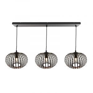 Zwarte Lieve hanglamp met 3 ronde, 30cm,  kappen