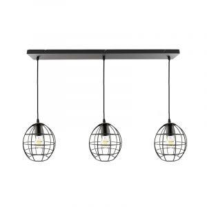 Zwarte Jochem hanglamp met 3 ronde kappen