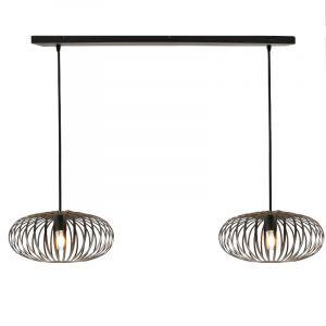 Zwarte hanglamp Lieve, met 2 kappen van 40cm