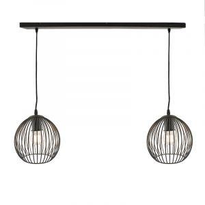 Zwarte hanglamp Wiro, met 2 kappen van 20cm