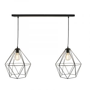 Zwarte hanglamp Jochem met 2 grote diamant kappen
